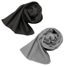 2 Pcs Cooling Towel Soft Instant Cool Cloth Towel Chilly Pad Scarf For Gym Yoga Running Biking Hiking Camping Grey + Dark Grey - Intl By Vococal Shop.