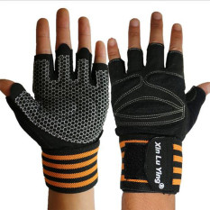 2016 New Fitness Gloves Semi-Finger Lengthened Wrist-Protection Gloves For Male And Female Barbell Horizontal Bar Strength Training Exercise Gloves(orange) By Scotty Dream Paradise.
