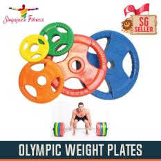 20kg Tri-Grip Olympic Rubber Weight Plate Pair By Singapore Fitness.
