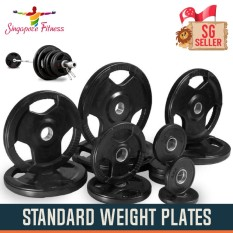 2.5kg Tri-Grip Standard Rubber Weight Plate Pair By Singapore Fitness.