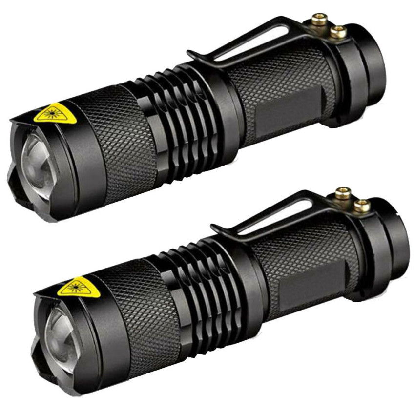 Top Rated 2Pc Mini Cree Q5 Led Flashlight Torch 7W 1200Lm Adjustable Focus Zoom Light Lamp Black