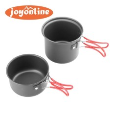 Best Offer 2Pcs Outdoor Camping Non Stick Pots Portable Hiking Picnic Pans Cookware Intl