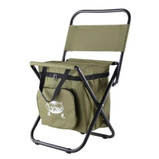 Price Compare 360Dsc Outdoor Camping Folding Beach Chair Picnic Bbq Stool Seat With Storage Cool Bag Army Green Intl