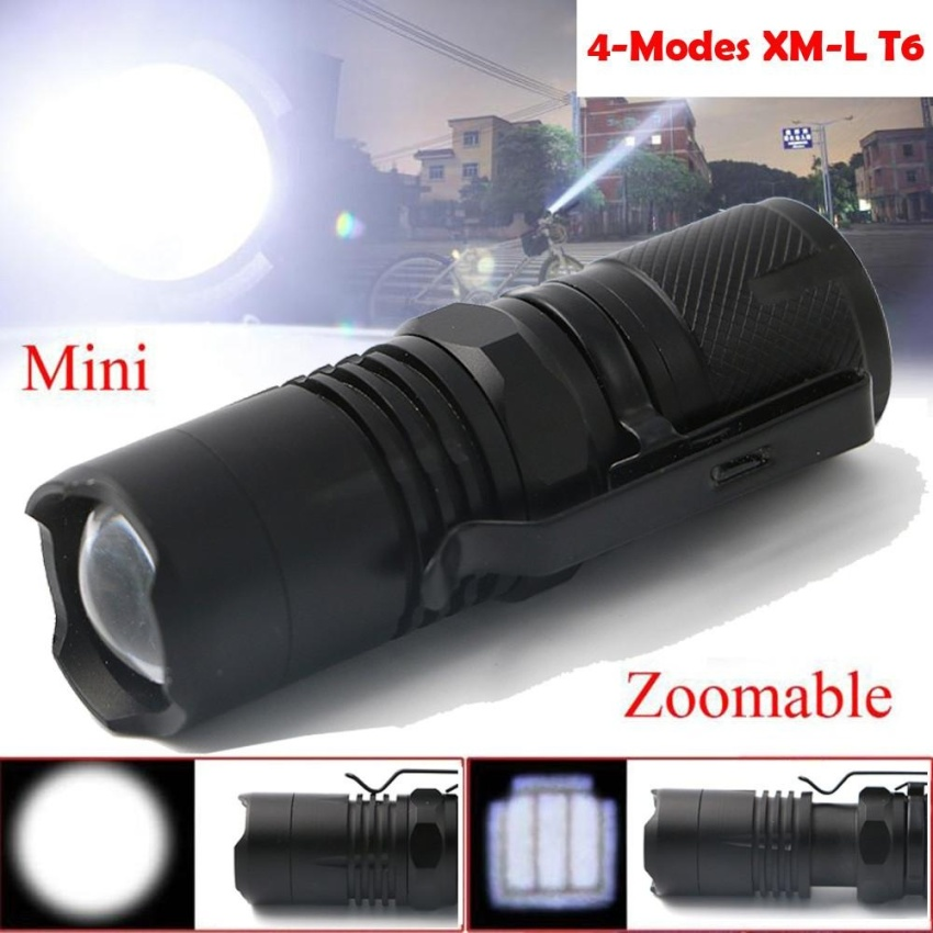 Best Buy 4 Modes Zoomable Xm L T6 Led Flashlight Torch Super Bright Light 16340 Battery Intl