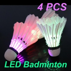 4pcs Dark Night 4 Pcs Colorful Led Badminton Feather Shuttlecock Shuttlecocks - Intl By Rainbowonline.
