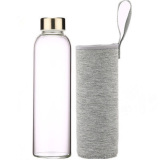 Buy 550Ml Sports Portable Glass Water Bottle With Protective Sleeve Gray Cheap On China