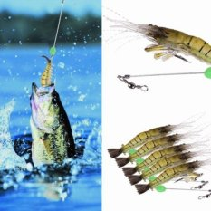 5pcs Shrimp Fishing Simulation Noctilucent Soft Prawn Lures Hook Baits By Welcomehome.