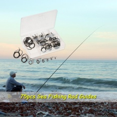 Retail Price 75Pcs Sea Fishing Rod Guide Set Tip Repair Kit Fishing Rod Parts Stainless Steel Construction For Saltwater Freshwater Intl
