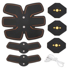 Abdomen+arm Lap Muscle Stimulator Training Electrical Body Shape Trainer Abs Set - Black Orange - Intl By Freebang.