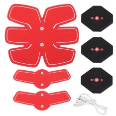 Abdomen+arm Lap Muscle Stimulator Training Electrical Body Shape Trainer Abs Set - Red - Intl By Freebang.