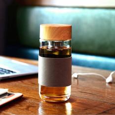 Best Price Bpa Free Glass Water Bottle Drinking Cup Tea Filter Infuser Flax Sleeve 400Ml Brown Intl