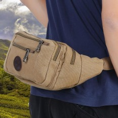 Canvas Waist Pack Bag Pouch For Outdoor Sports Running Cycling Hiking(khaki) - Intl By Highfly.