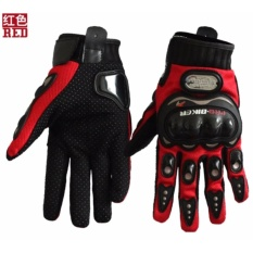 Sale Carbon Fiber Motorcycle Racing Hand Full Finger Protection Pro Biker Gloves(Red ) Intl Online On China