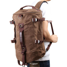 Chic Canvas Man Backpack Rucksack Travel Outdoor Bag Duffle Large Coffee By Crystalawaking.