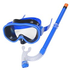 Children Swim Swimming Goggle Diving Mask Glasses With Semi-Dry Snorkel Scuba Diving Equipment Set For 8-16 Ages Kids Dark-Blue - Intl By Vococal Shop
