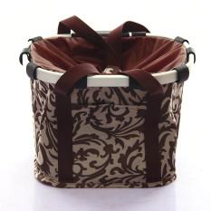 Coffee Flower Pattern Waterproof Bicycle Folding Bike Basket Carrier Front Handlebar Bag By Stoneky.