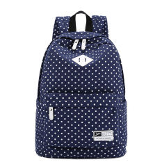 Cute Polka Dot Women Canvas Backpack Satchel Rucksack Schoolbag Leisure Travel Shoulder Bag Dark Blue By Stoneky.