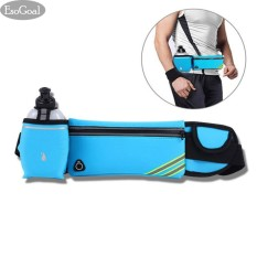 EsoGoal Running Belt with Water Bottle Waterproof Waist Pack for Men and Women Universal Size to