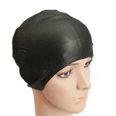 cf2e4d4b4754 Fashion Portable Adult Swimming Cap Women Men Head Hair Ears Silicone  Comfortable Solid Color Swimming Cover