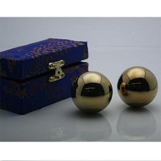 Golden Chinese Healthy Exercise Massage Metal Balls - Intl By Freebang.