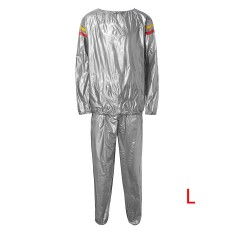 Heavy Duty Sweat Suit Sauna Exercise Gym Fitness Weight Loss Workout Sports Silver Lightweight And Comfortable L -Intl By Freebang.