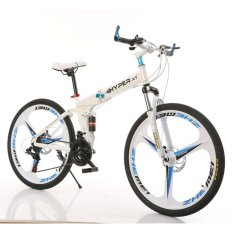 Hyper-Xt Premium Quality Foldable Mountain Sports Bike With Shimano Parts High Carbon Steel Pearl White By Aextech.