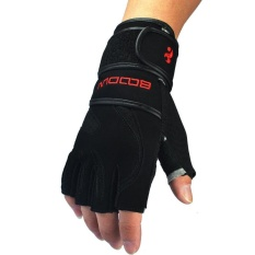 Price Comparisons Leather Wrist Fitness Gloves Gym Men Breathable Anti Slip Training Sport Gloves Weightlifting Half Finger Black Intl