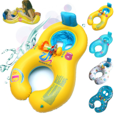 Retail Leegoal 2 In 1 Portable Family Inflatable Swim Ring For Baby And Parent Yellow