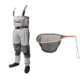 Best Deal Magideal Fishing Wader With Stocking Foot Waterproof Chest Wader Pants Landing Net Intl