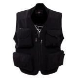 Cheaper Men S Outdoor Casual Sports Quick Drying Multi Pocket V Neck Cotton Blend Fishing Vest Color Black Size Xl Intl