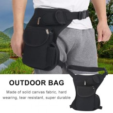 Multi-Functional Adjustable Canvas Waist Pack Drop Thigh Leg Bag For Outdoor Sports(black) - Intl By Highfly.