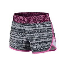 Nike Tempo Rival Allover Print Girls' Running Shorts Black/White/Pink Pow