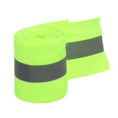 Reflective Lime Green Gray Tape Sew On 2\ Trim Fabric Material 10 Feet - Intl By Sportschannel