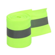 Reflective Lime Green Gray Tape Sew On 2\ Trim Fabric Material 10 Feet - Intl By Crystalawaking.