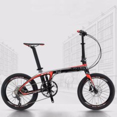 Sava Z1 Folding Bike 20 T700 Carbon Fiber Frame Mini Compact Foldable 9 S(black Red) - Intl By Linkcool.