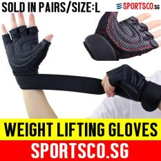 How To Get Sportsco Weight Lifting Exercise Gloves With Wrist Wrap Size Large Black With Red Thread Sg
