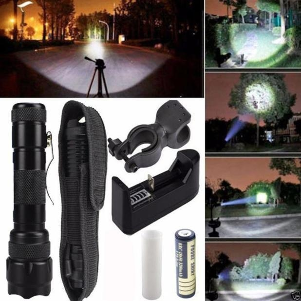 Price Comparisons Tactical Flashlight 5000Lm Xm L T6 Led Zoomable Torch Lamp Battery Charger Intl