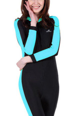 Cheapest Women Wetsuit Long Sleeve Swimsuit Diving Wet Suits Spring Autumn Full Body Swimwear Sky Blue