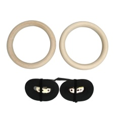 Wood Gymnastic Gym Rings with Adjustable Buckles Straps Cross Fitness - intl