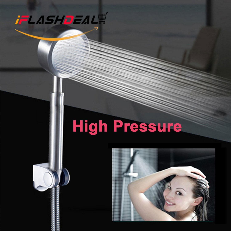 Iflashdeal Shower Head High Pressure Bathroom Shower Sprayer Aluminum Handheld Rain Shower Water Saving With Holder By Iflashdeal.