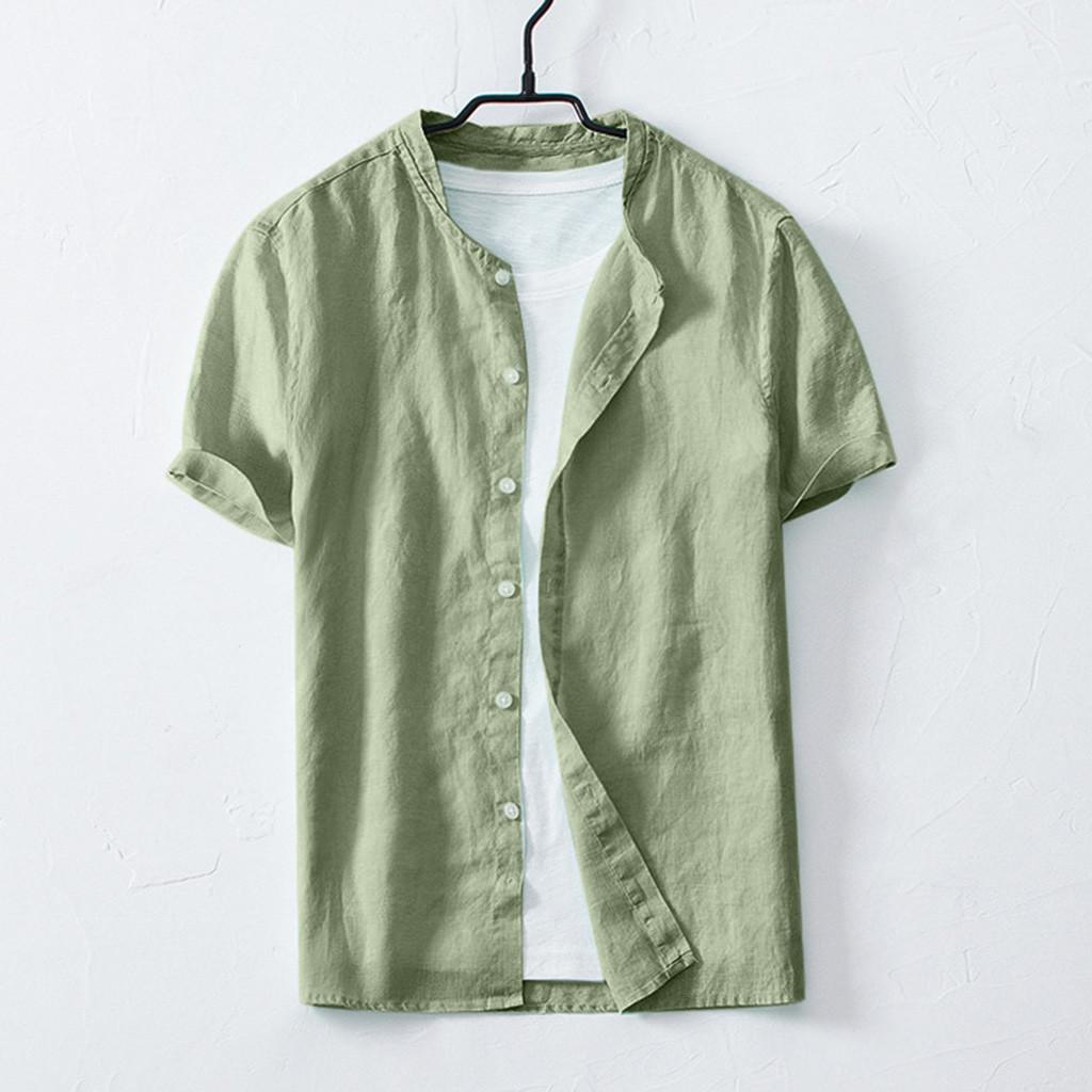 5e9dec659 Rainny Summer Men's Cool Thin Breathable Solid Color Button Cotton Shirt for  men Short Sleeve