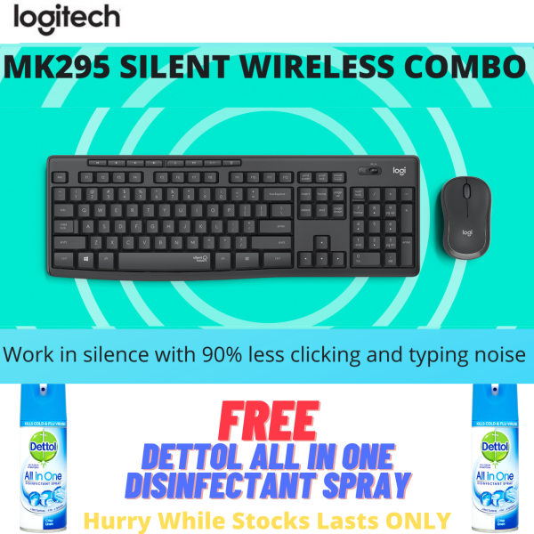 NEW!!! Logitech MK295 Wireless Mouse & Keyboard Combo with SilentTouch Technology, Full Numpad, Advanced Optical Tracking, Lag-Free Wireless, 90% Less Noise