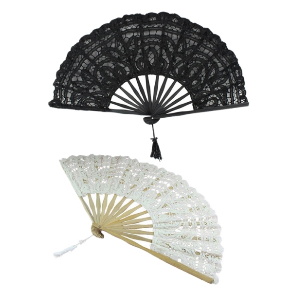 2 PCS Handmade Cotton Lace Folding Hand Fan For Party Bridal Wedding Decoration ( Beige & Black) Singapore