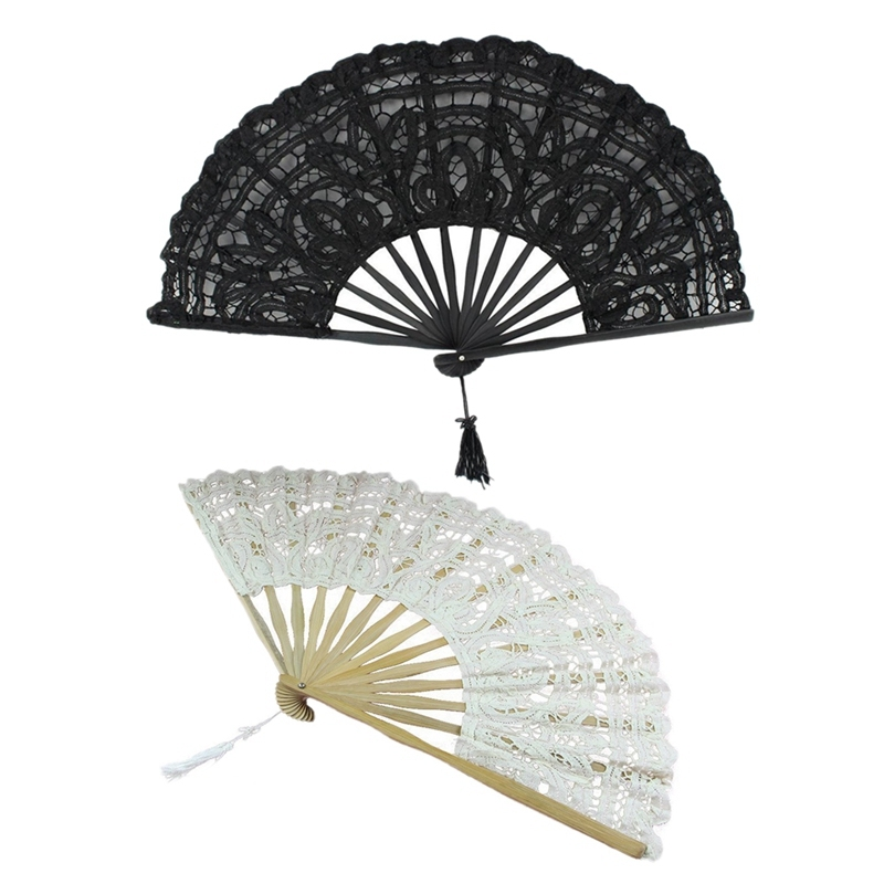 2 PCS Handmade Cotton Lace Folding Hand Fan For Party Bridal Wedding Decoration ( Beige & Black) Singapore