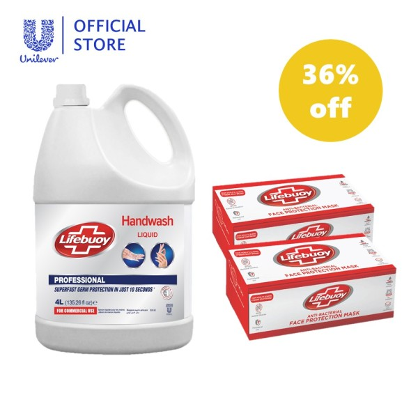 Buy (36% Limited Offer) Lifebuoy Handwash Liquid Refill 4L + Lifebuoy Anti-bacterial Face Protection Mask (Disposable) 50s Singapore