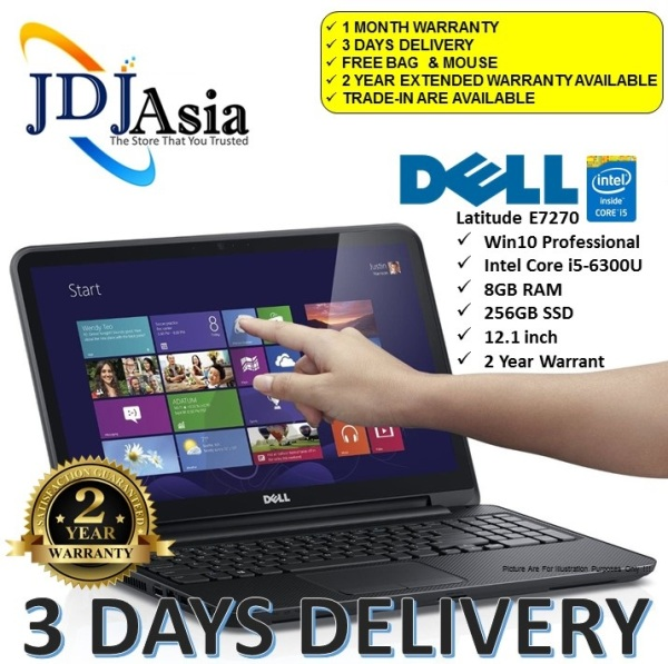 IMMEDIATE DELIVERY [Refurbished] Dell Latitude E7270  Core i5 Business Laptop i5-6300U 2.4GHZ / 8GB / 256GB SSD