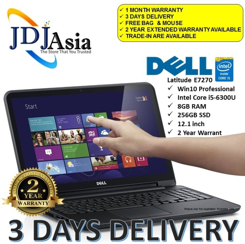 IMMEDIATE DELIVERY [Refurbished] Dell Latitude E7270  Core i5 Business Laptop i5-6300U 2.4GHZ / 8GB / 256GB SSD
