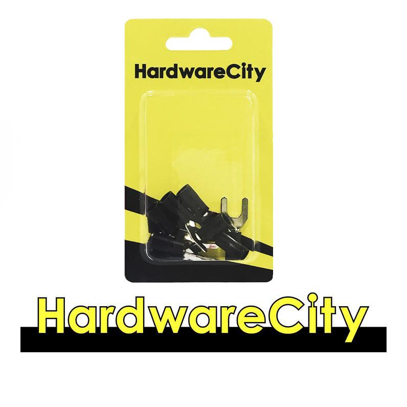 HardwareCity Insulated Fork Crimp Connectors, Black (22AWG - 16AWG), 10PC/Pack