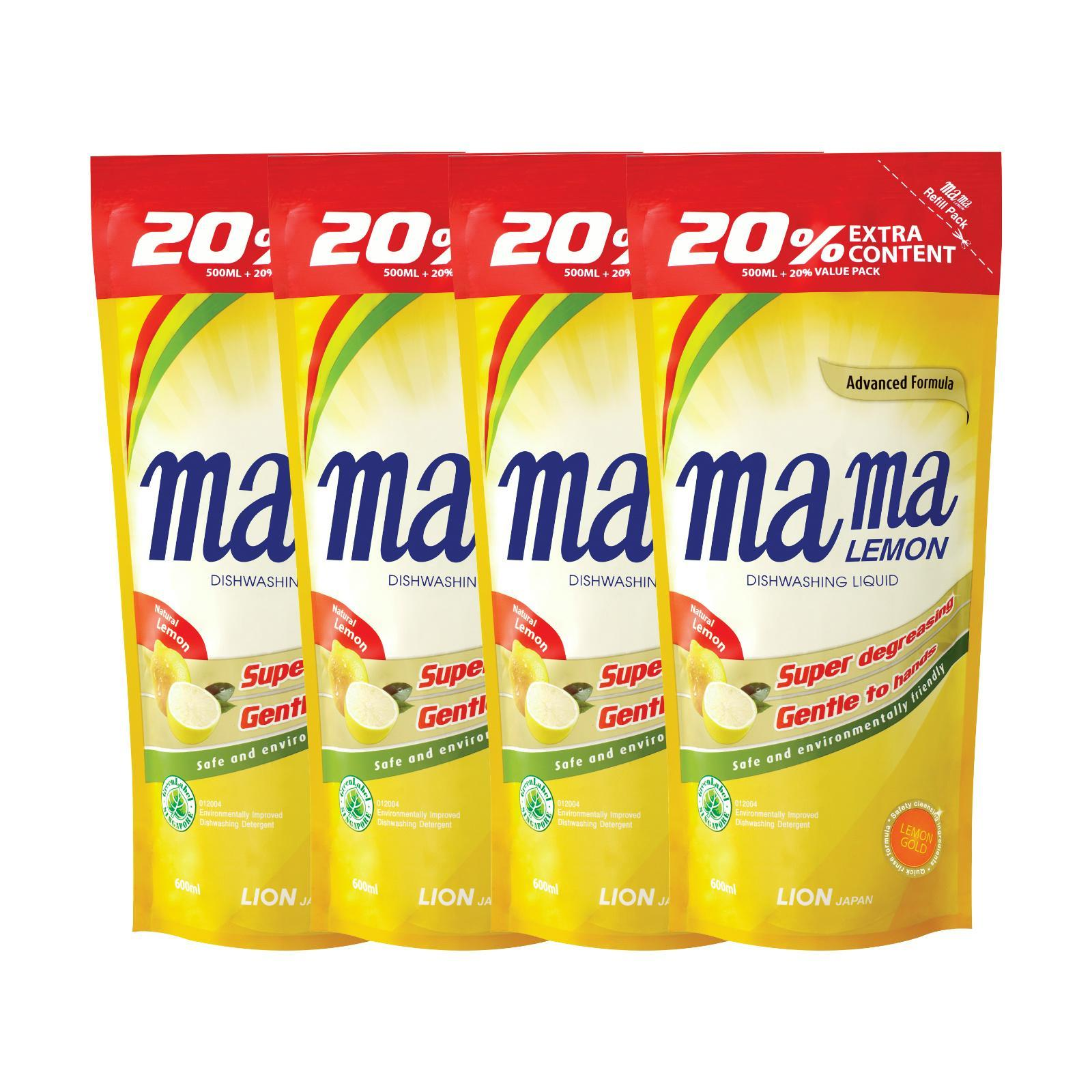 MAMA LEMON Dishwashing Liquid Refill - Lemon 4sX600ml