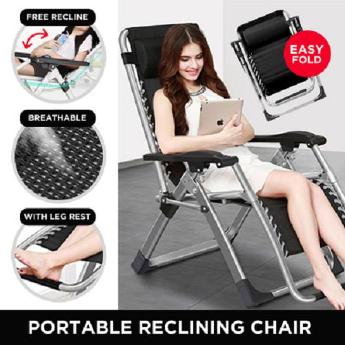 Portable Reclining Foldable Chair Relaxing Contour with Breathable Fabric include Cup and Phone Holder (No Installation Needed)